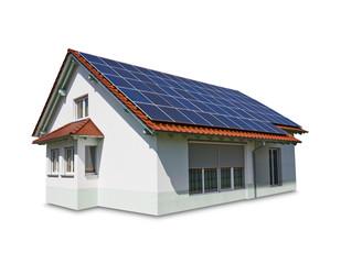 Haus mit Solar Panel auf dem Dach auf weißem Hintergrund