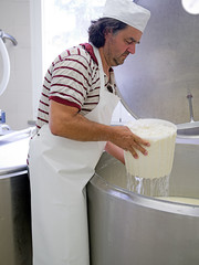 Artisan cheese making, rural craft.