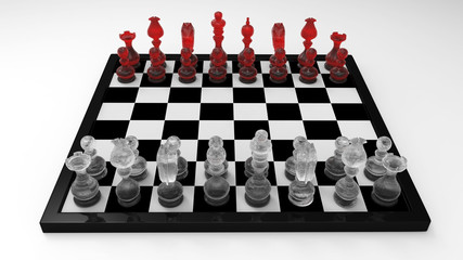 3d Chess Master Set with Glass Chessman - isolated