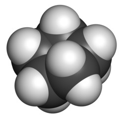 Cyclopentane cycloalkane molecule. Used in refrigerators and fre