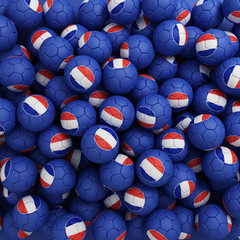 France football balls. 3D render background
