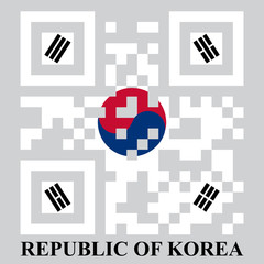 Korean QR code flag, vector