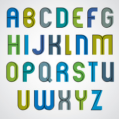Colorful binary cartoon font, rounded upper case letters.