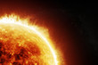Leinwanddruck Bild - Burning sun on a space black background