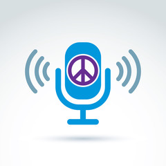 Peace propaganda icon with microphone, vector conceptual unusual
