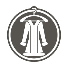 Woman cout on a hanger, vector abstract clothing icon.