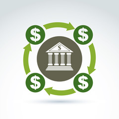 Vector banking symbol, financial system icon. Circulation of mon
