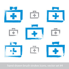 Set of brush drawing simple blue first aid kit, medicine icons c