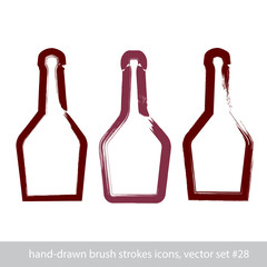 Set of hand-drawn stroke simple empty bottle of rum, symmetric b