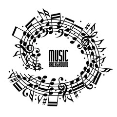 Vector black rounded stave with musical notes on white backgroun