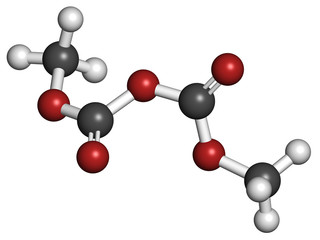 Dimethyl dicarbonate (DMDC) beverage preservative molecule.