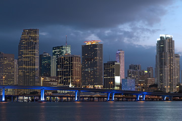 Miami city skyline at dusk.