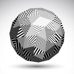 Triangular abstract dimensional striped sphere, vector digital e