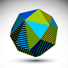 Vivid abstract 3D spatial vector contrast figure, art spherical