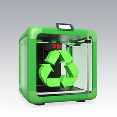 3D printer and recycle mark isolated on gray background