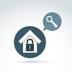 Vector symbol of a house and a key, security conceptual icon.