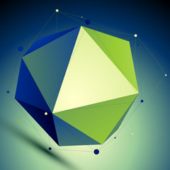 Colorful triangular abstract 3D illustration, vector digital lat