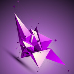 Purple spatial technological shape, polygonal wireframe object p
