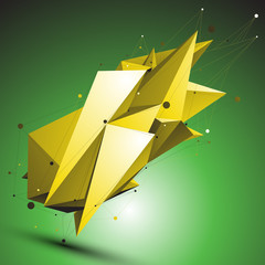 Gold abstract asymmetric vector object with lines mesh over gree