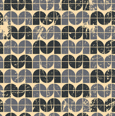 Black ornamental worn textile geometric seamless pattern, vector