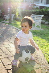 Happy child with soccer