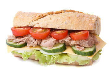 tuna sandwich with vegetables and cheese isolated