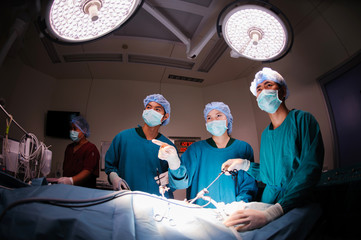 veterinarian doctor in operation room for laparoscopic surgical