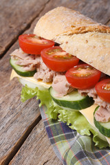 tuna sandwich with vegetables and cheese on wooden, vertical