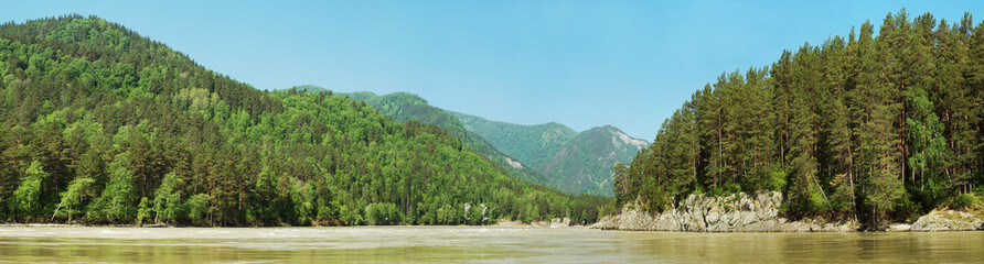 Beautiful bright summer panorama with river and wooded shores