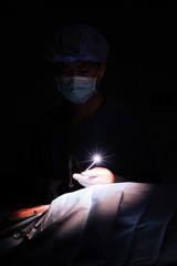 veterinarian doctor in operation room (art lighting shot)