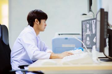 veterinarian doctor working in CT scanner computer control