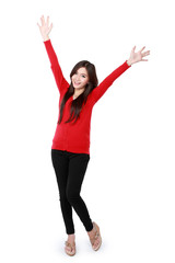 happy asian attractive girl wearing red