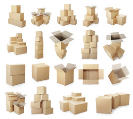 set of cardboard boxes pile