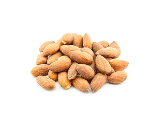 Almond with salt on white background
