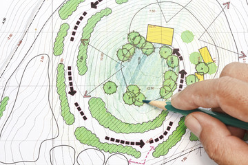 Landscape Architect Designing on site analysis plans