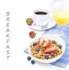breakfast with homemade granola and fresh berries, orange juice