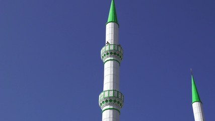 Islamic minaret with loudspeaker in Istanbul