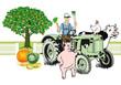 Bauer auf Traktor mit Tieren