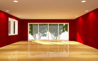 Interior Red Room