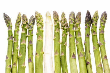 One white and twelve green asparagus tips