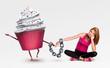 Woman handcuffed to a cupcake