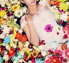 fashion model posing with flowers