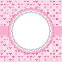 Blank frame with heart background.