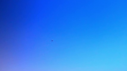 Airplane flying in a clear blue sky. Video