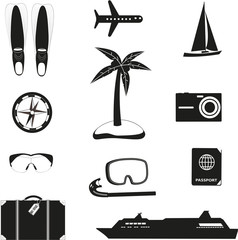 Set of black travel icons