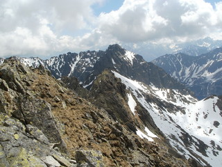 Borde between Poland and Slovakia on the ridge in High Tatras