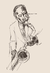man playing the trumpet, music vintage illustration, sketch