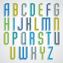 Colorful decorative font, geometric narrow uppercase letters wit