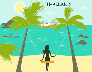 Woman on the swing on the Thailand beach