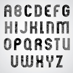 Grunge white and black rubbed upper case letters, decorative fon